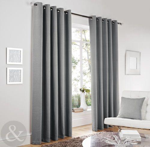 Luxury Herringbone Tweed Silver Grey Curtains Lined Modern Eyelet Curtains Ebay Lounge Curtains Modern Eyelet Curtains Curtains