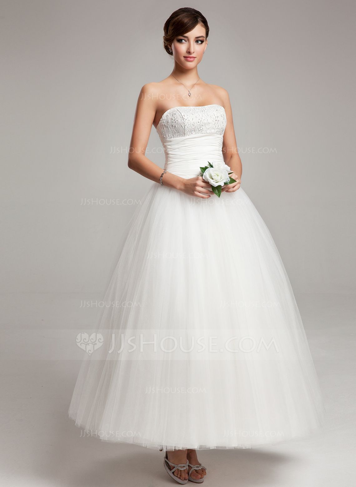 US$ 16.16] Ball-Gown Sweetheart Ankle-Length Chiffon Tulle