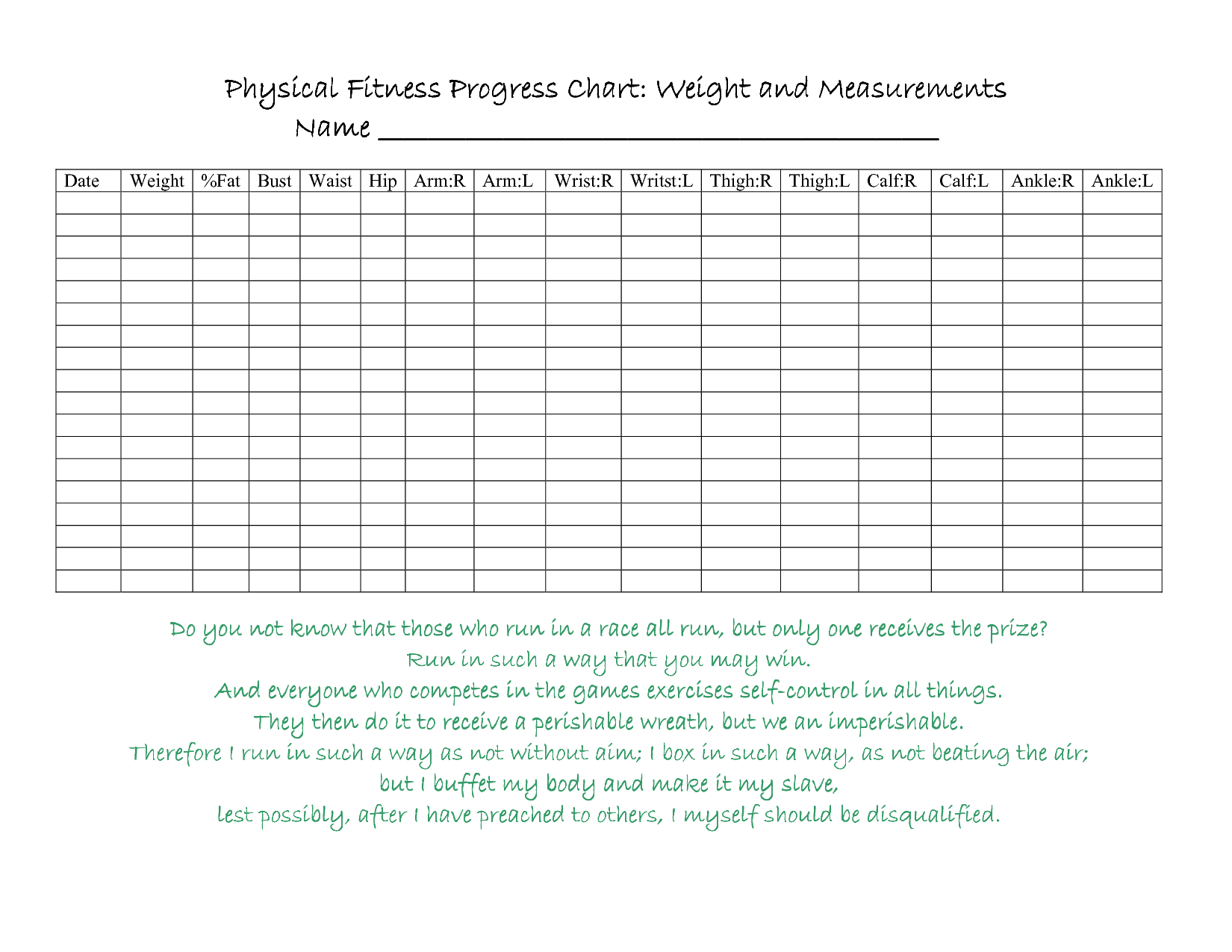 Pix For Personal Fitness Merit Badge Chart | exercise & weight ...