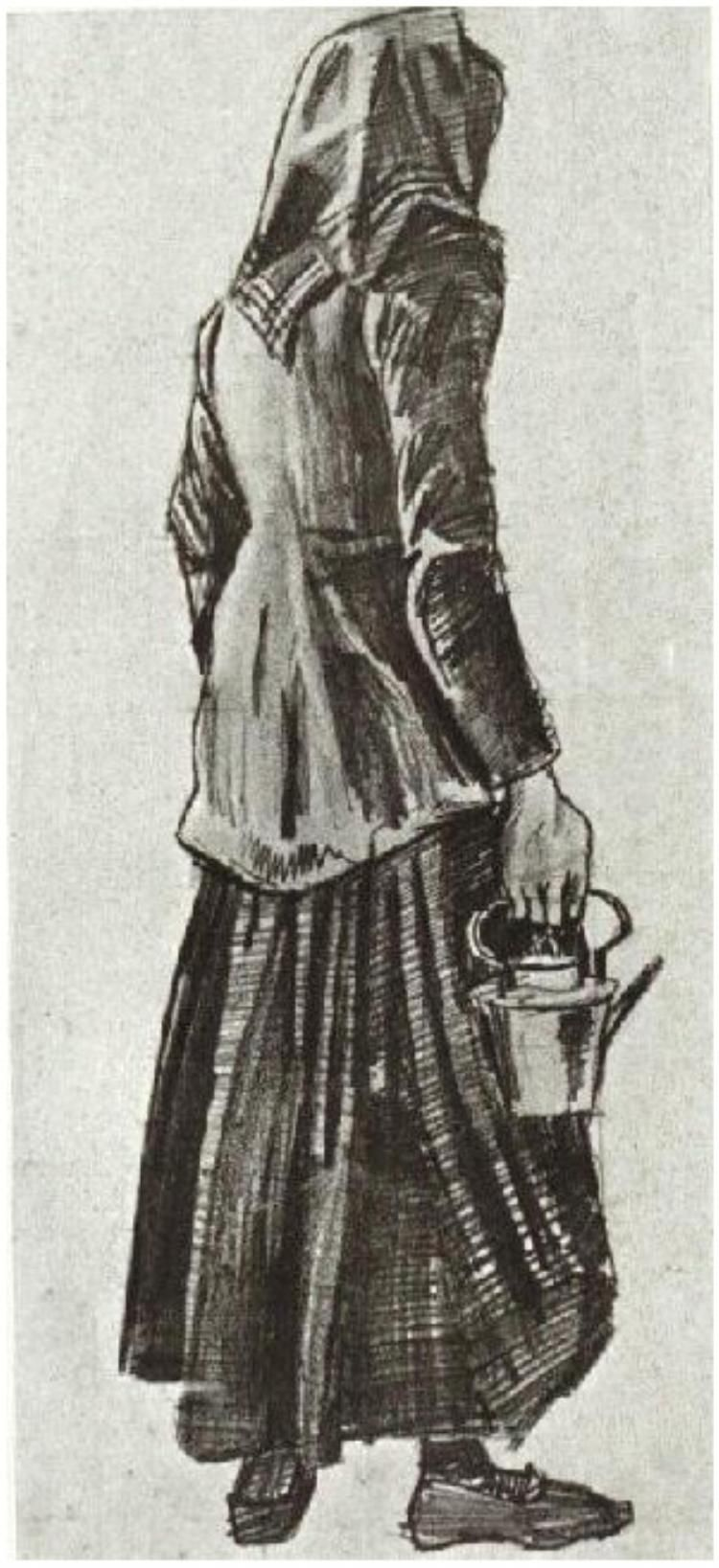 Vincent van Gogh Woman with Kettle, Seen from the Back Drawing