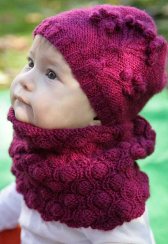 Knitting Pattern -wavy bobbles Cowl neck warmer/headband - baby ...