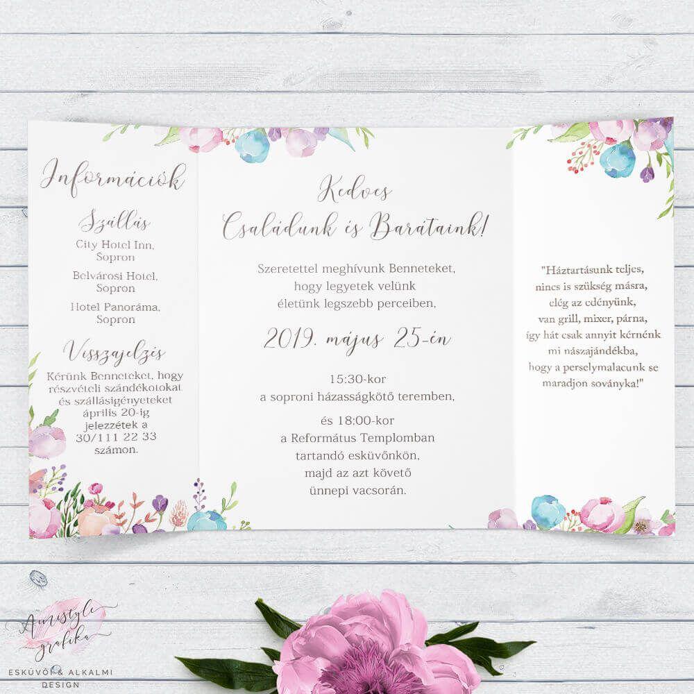 2ed1d563ac Vintage Virágos Ablakos Esküvői Meghívó | Amistyle Grafika in 2019