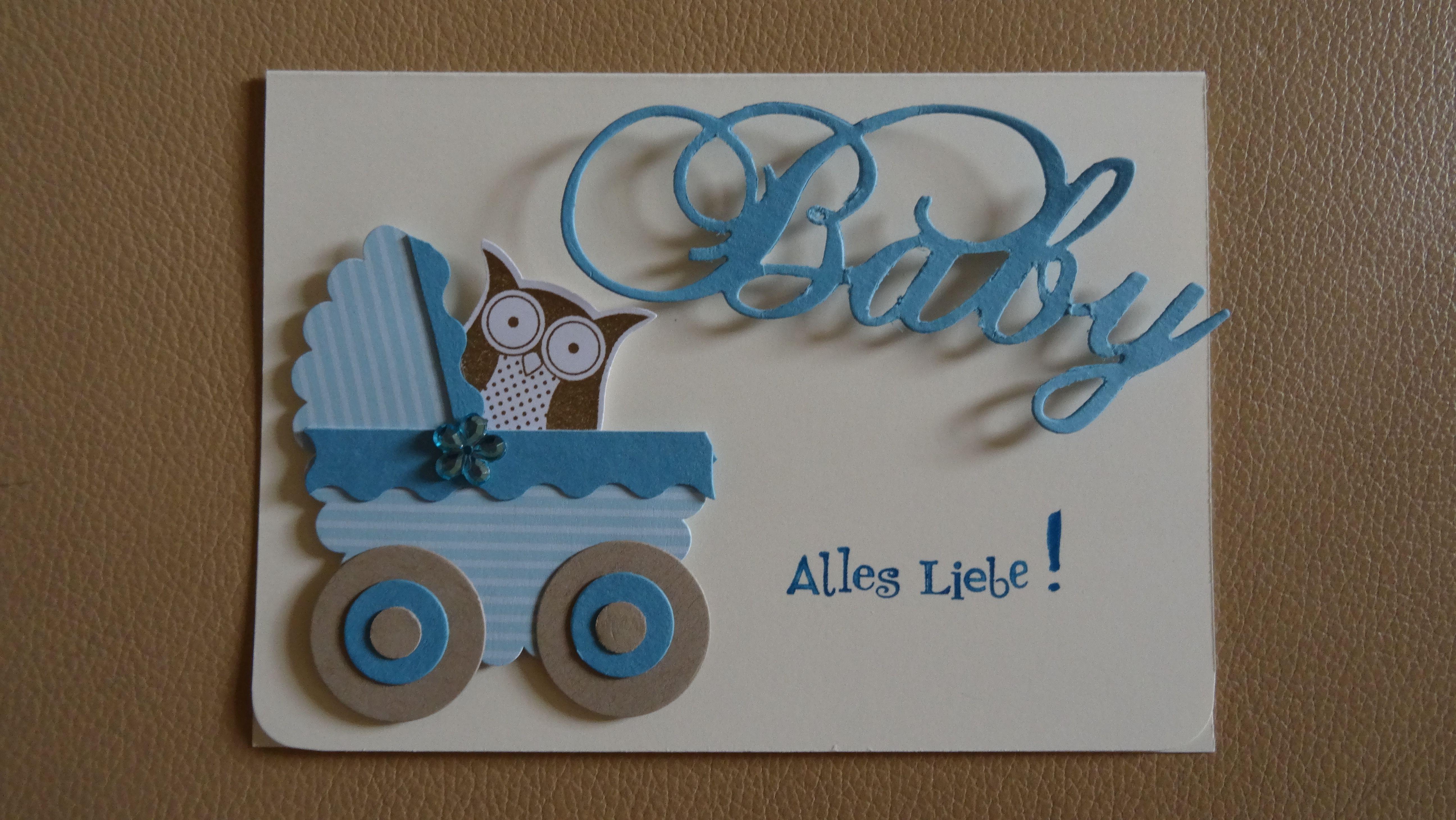 Stampin Up Karte Geburt Baby Taufe Junge Eulen Stanze Eule