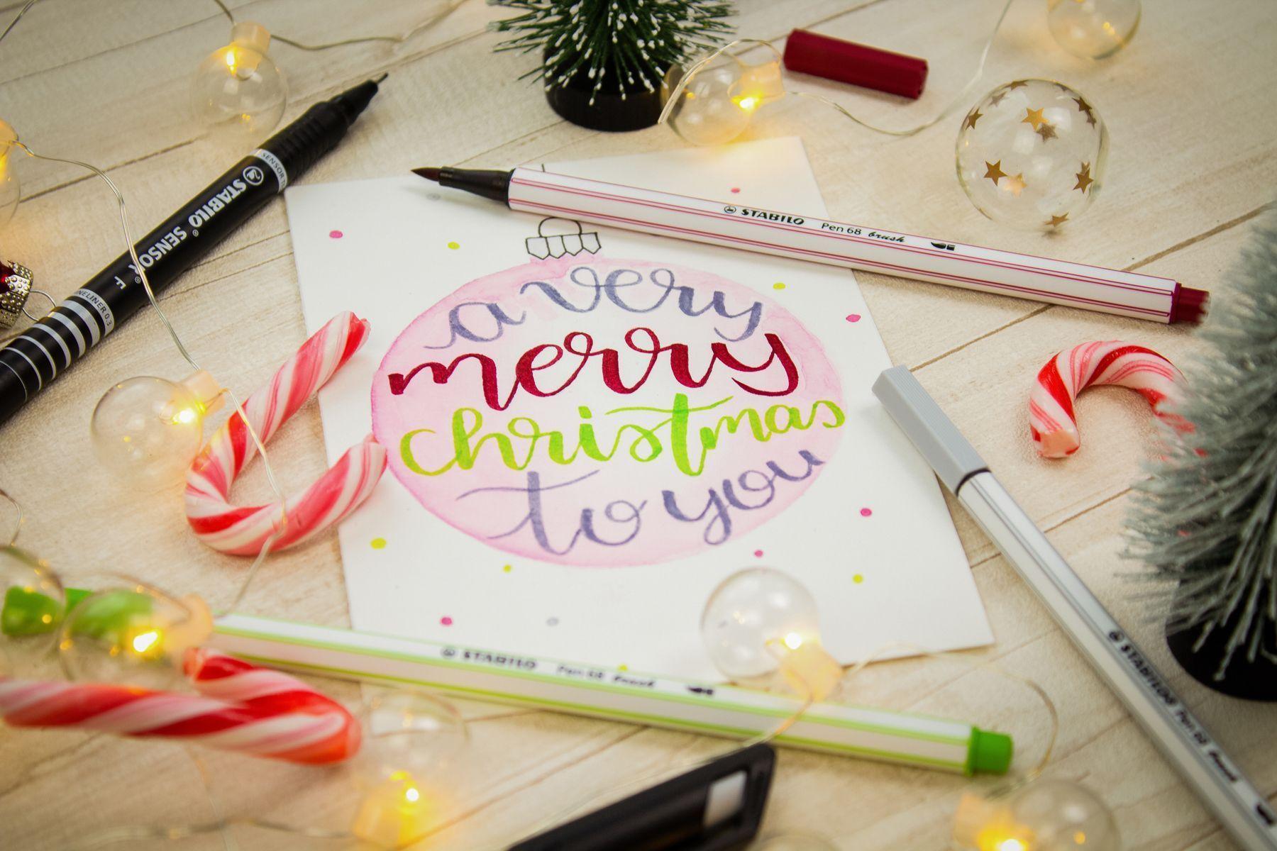 A very merry christmas  mit dem STABILO Pen 68 brush  A very merry christmas  mit dem STABILO Pen 68 brush