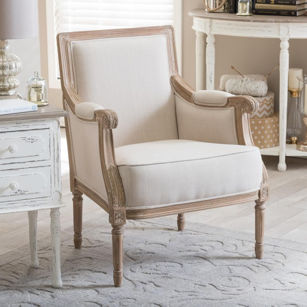 Conradina Light Beige Linen Arm Chair | Upholstered accent chairs ...