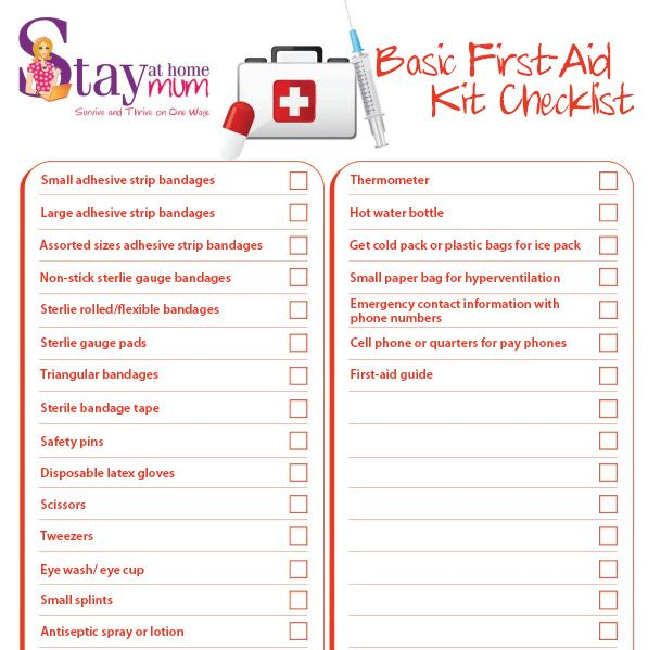 Basic First Aid Check-List | Stay at Home Mum - Survive and thrive ...
