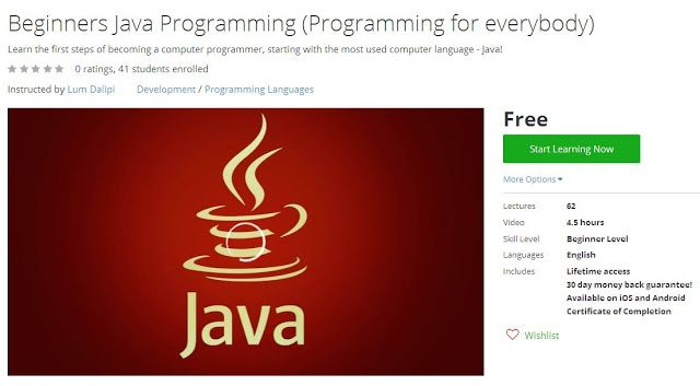 Coupon Udemy - Beginners Java Programming (Programming for