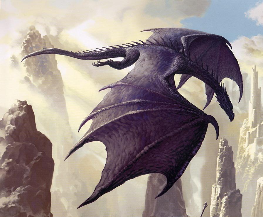 獲物を狙うかのように飛んでるドラゴンの壁紙