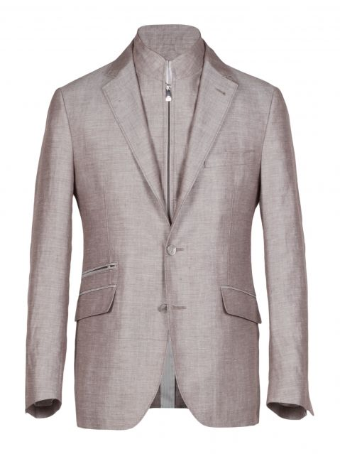 Unlined 2 and a half button Identity Jacket IV in beige