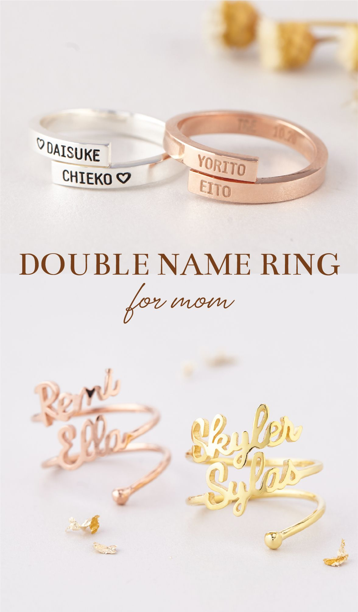 Two Name Ring Silver  Gold  Rose Custom Rings for Women Name Ring Personalized Gift for Her Personalized Ring Two Finger Ring