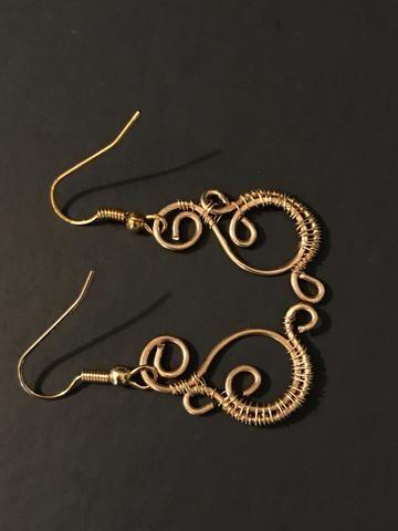 Spiral Gold Earrings, Gold wire earrings, simple gold earrings, gold ...