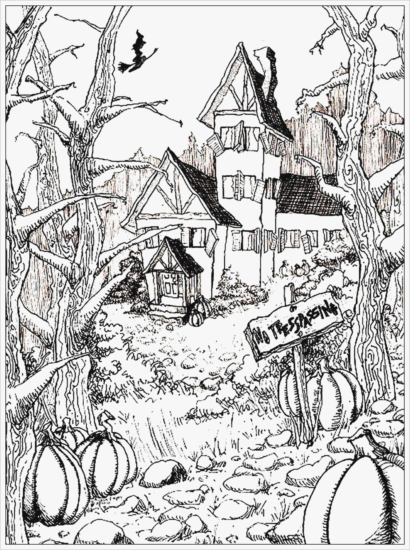 Beautiful Halloween Haunted House Coloring Sheets Halloween House Drawing