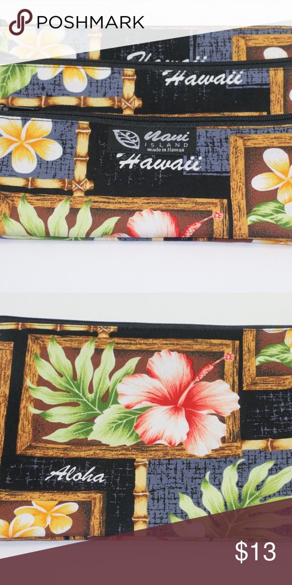 d4c47f646d Hawaiian 3 Zipper Pouch 6.5 H X 8.5 H 100 % Cotton Made in Hawaii Box of  Plumeria Black Fast Free Shipping nani island Bags Mini Bags