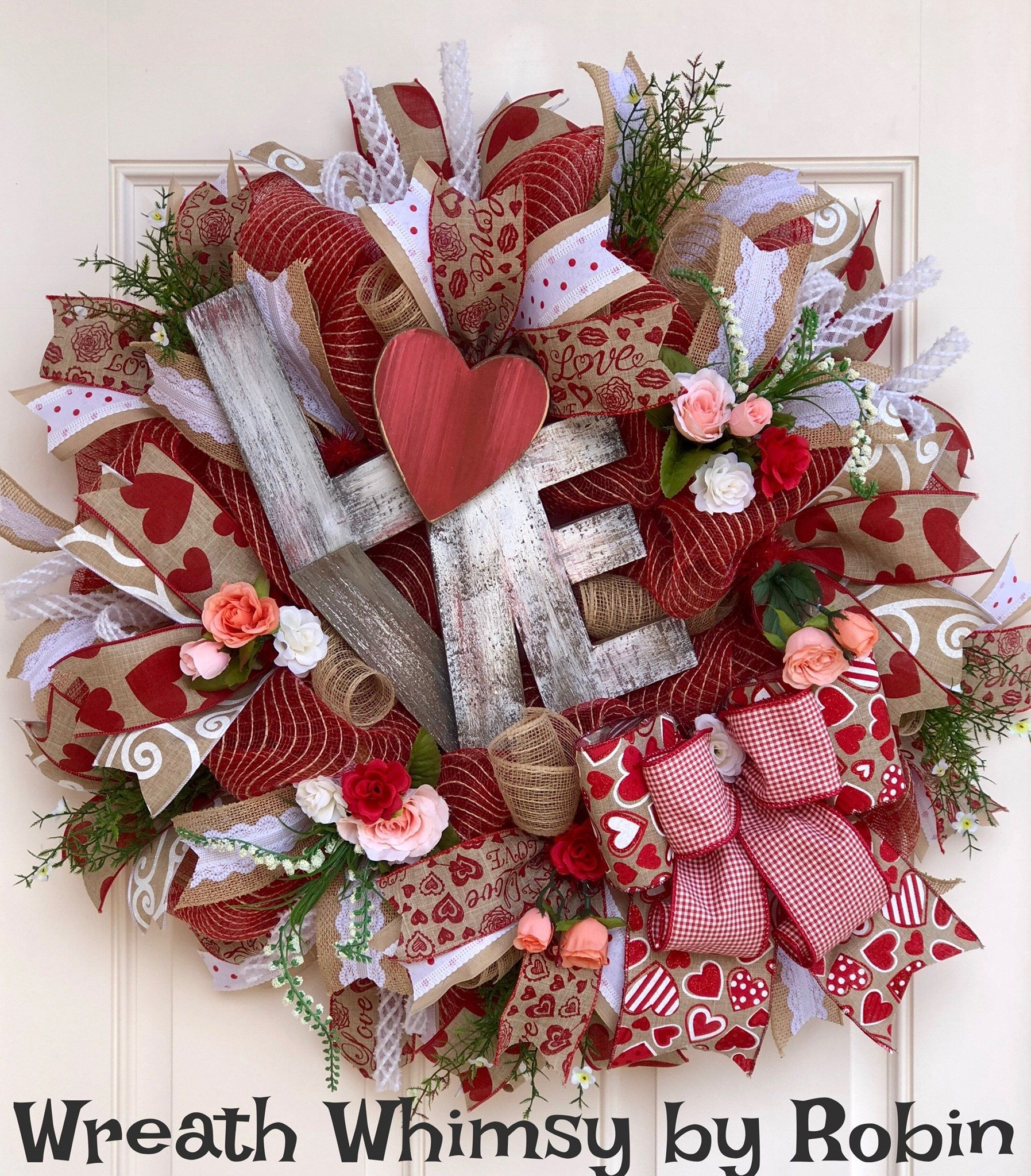 Burlap Mesh Valentineu0027s Day Wreath In Tan, Red U0026 White, Door Wreath, Winter