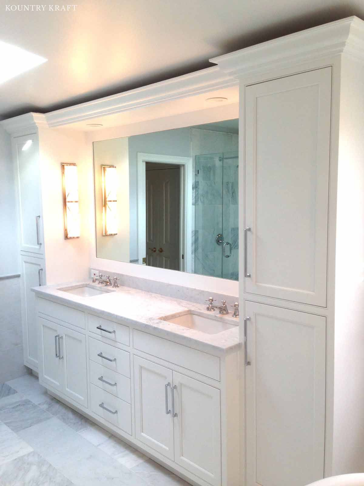 White Custom Cabinetry New Canaan Ct Https Www Kountrykraft Com Photo Gallery White Custom Cab Custom Bathroom Vanity Unique Bathroom Vanity Custom Bathroom