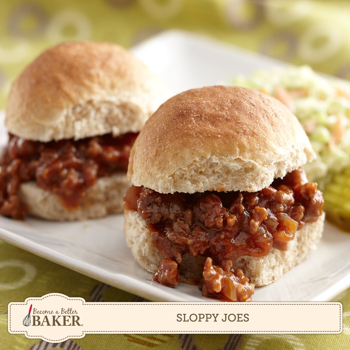 Serve these snackable Sloppy Joes on homemade buns with pickles and onions for a delicious summertime snack