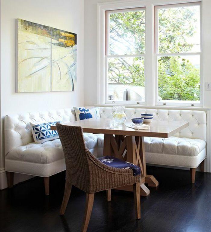 gepolsterte sitzbank weiß küchen möbel korb fenster sitzecke ...