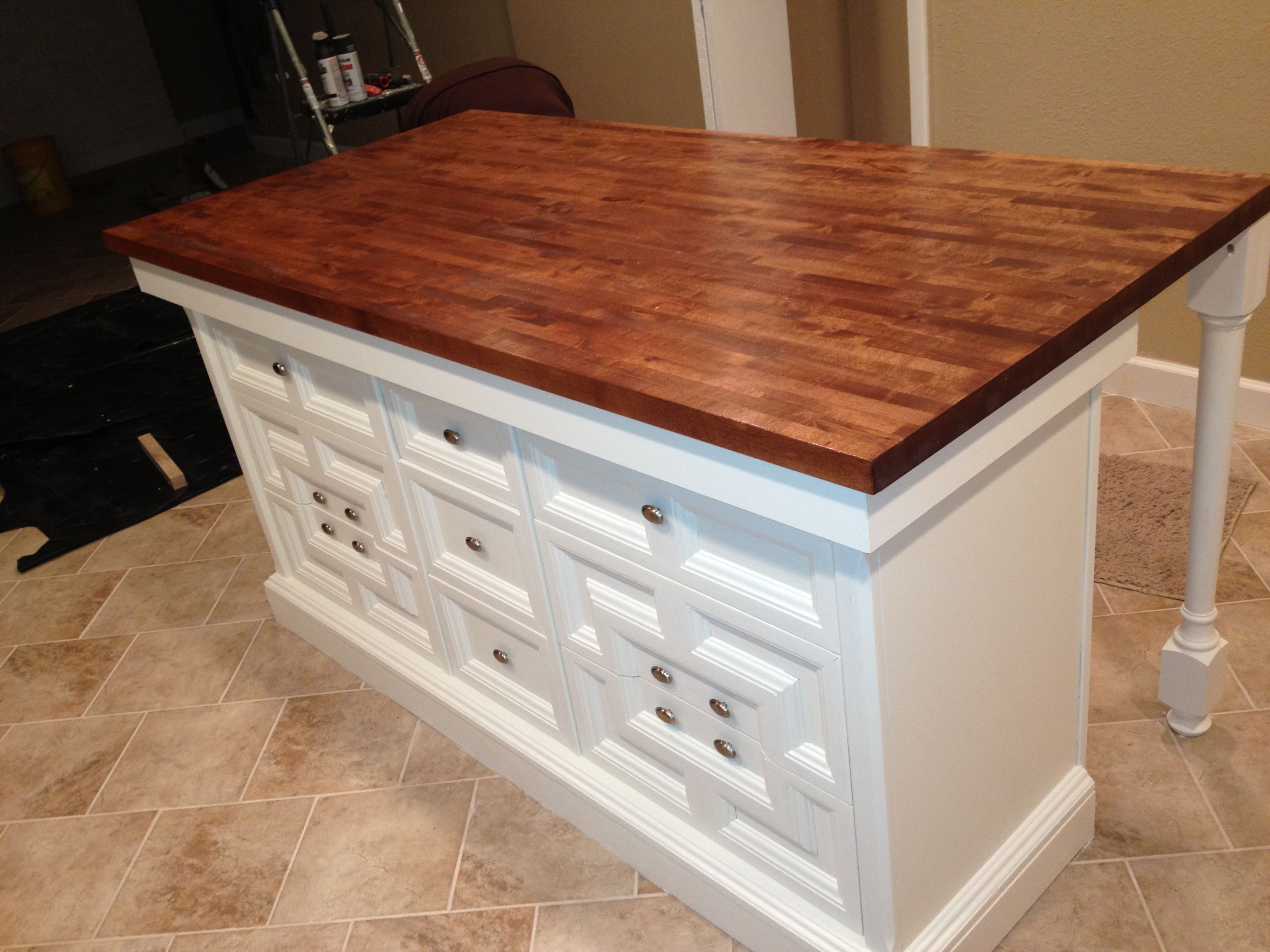 Self Made Island From An Antique Dresser My Wife Designed Kitchen Island Made From Dresser Interior Design Kitchen Small Diy Kitchen Remodel