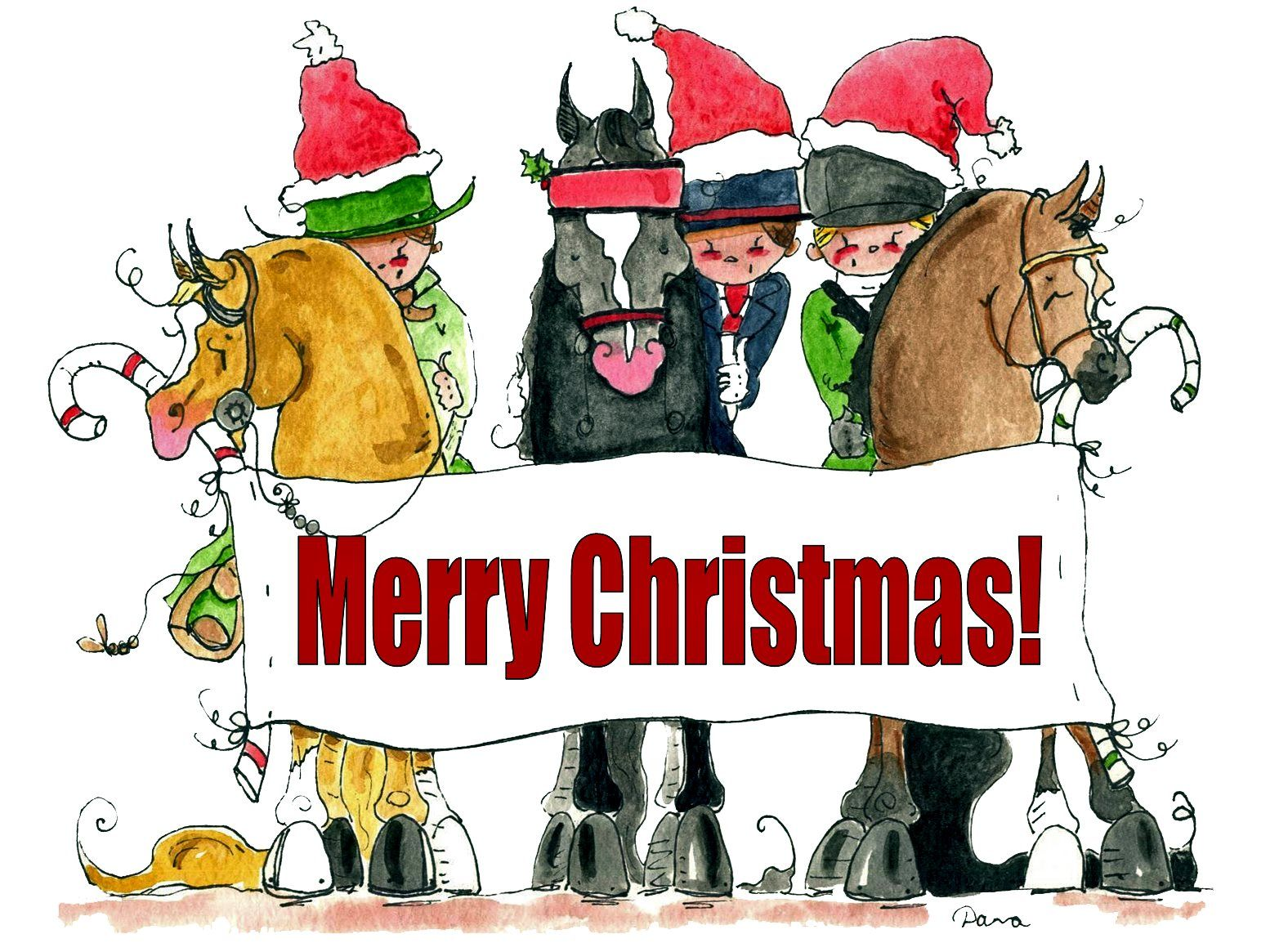 Christmas Horse Cartoon.A Christmas Card From Dana S Doodles Holiday Horses