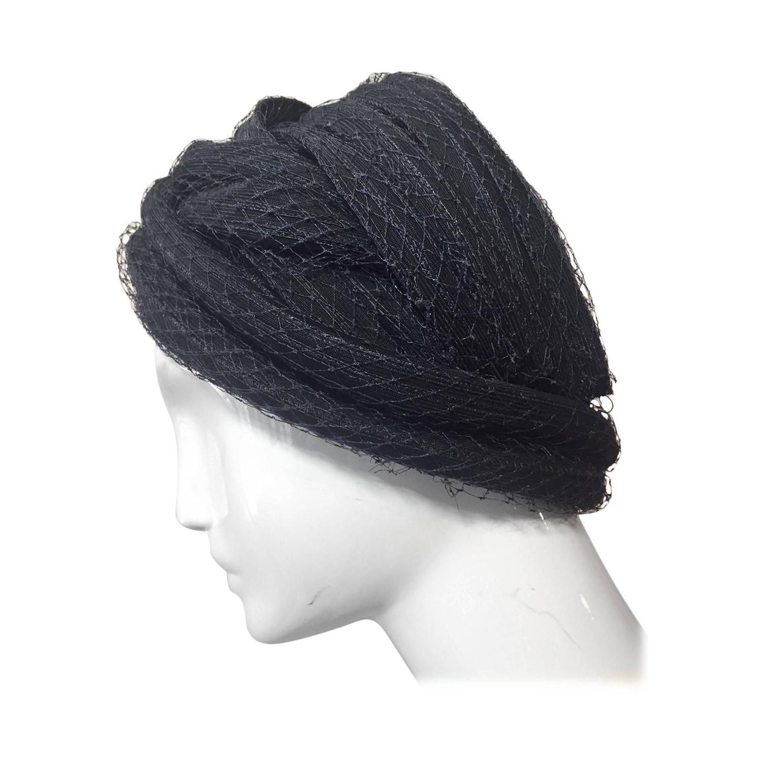 84377832 1960s Christian Dior Navy Blue Straw and Tulle Turban | From a collection  of rare vintage