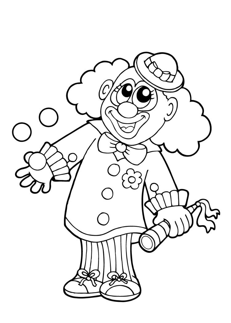 Clown Ausmalbild kostelnos ausdrucken  Kostenlose ausmalbilder