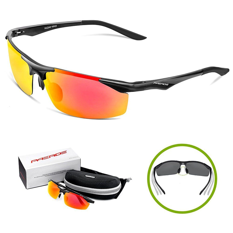 9286fc09e3 Paerde Men s Sports Style Polarized Sunglasses for Fishing Driving Golf  Unbreakable Al Mg Metal Frame Glasses