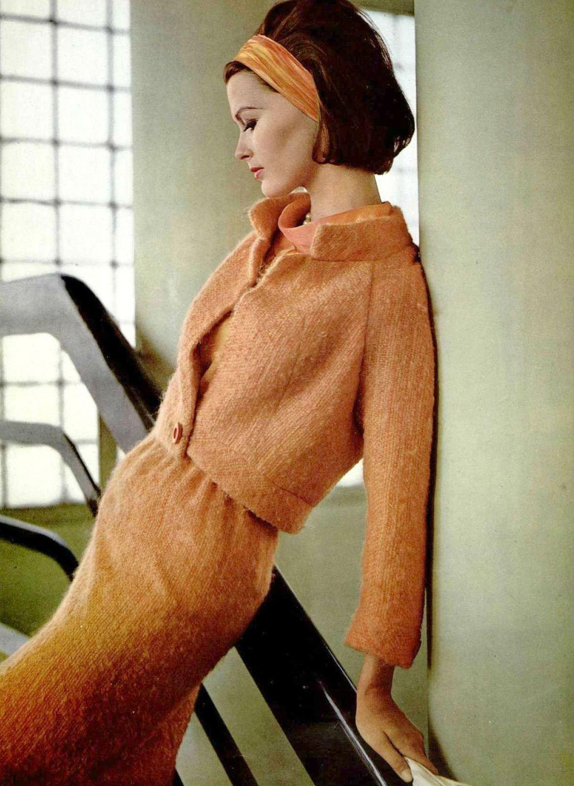 Model in peach heather wool by Pierre Balmain, photo by Pottier, 1964