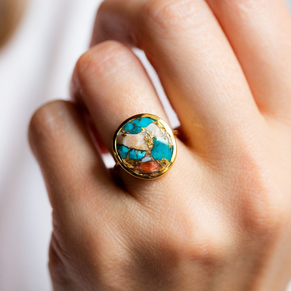 Statement Oyster Turquoise Ring Turquoise ring, Rose