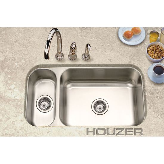 Houzer Ehd 3118 1 Elite Undermount Double Bowl 80 20 Kitchen Sink In Stainless Steel Double Bowl Kitchen Sink Kitchen Sink Steel Kitchen Sink