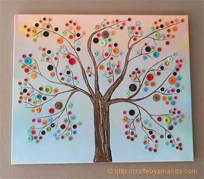Quatang Gallery- Photo Button Tree 3 Ziesamenv A Zps3cd97e1e Jpg Button Tree Art Button Crafts Canvas Crafts