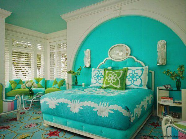 farbideen schlafzimmer farbige einrichtungsideen in türkis - schlafzimmer farbidee