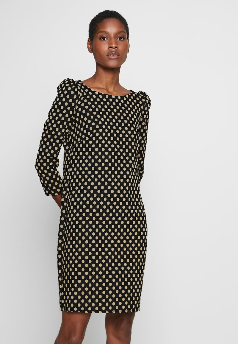 wallis spot puff sleeve dress - freizeitkleid - black