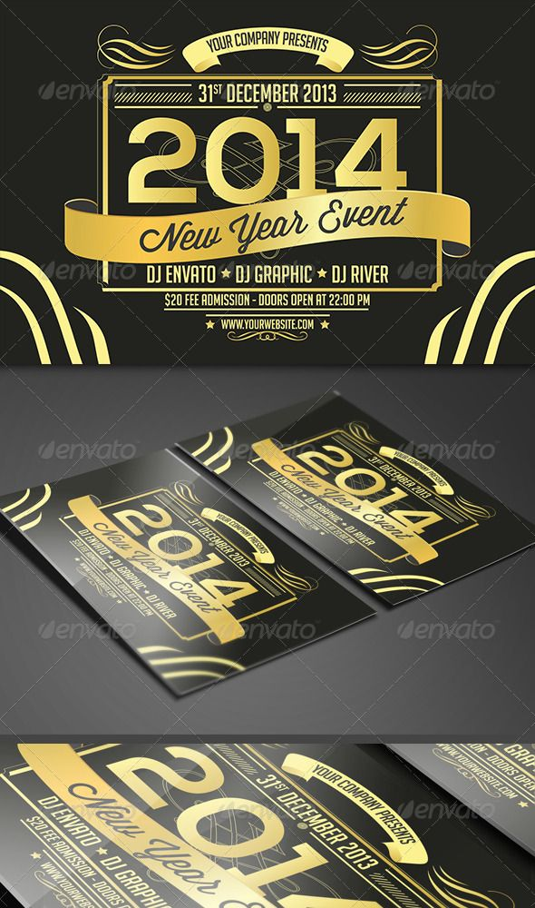 New Year Gold Stamp Flyer Card Holiday Flyer Template Flyer Stamp