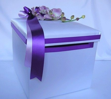 Wedding Reception Orchid Gift Card Money Box Purple Lavender