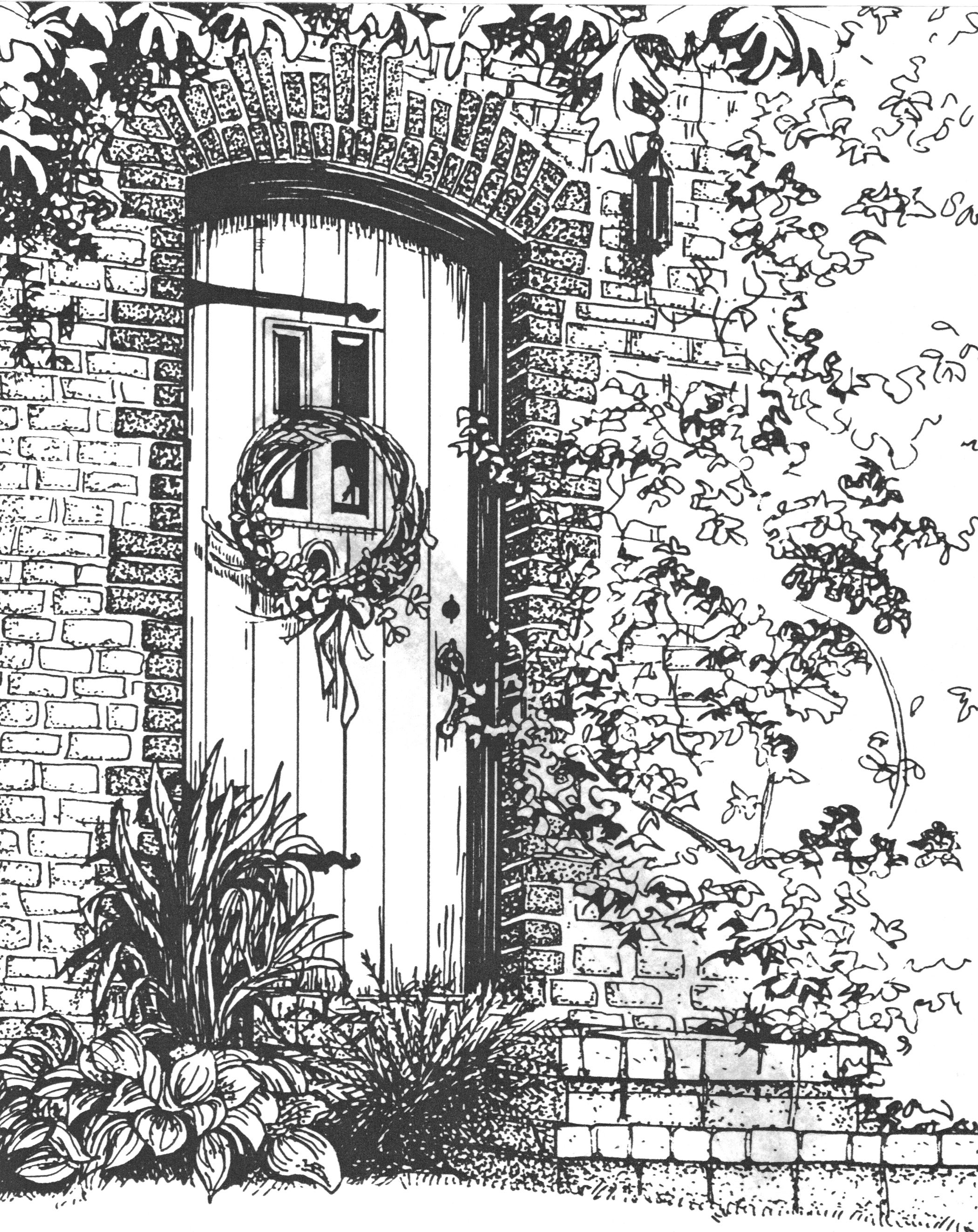 Architectural rendering done in pen and ink on crescent