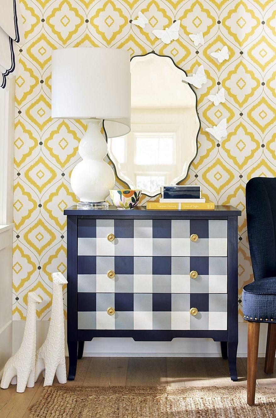 Hello There This Cheery Buffalo Check Front Painted In The Perfect Bold Color Makes Our Exclusive Penny Three Drawer Chest A Room Waking Accent We D Place