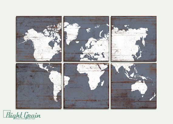 Large Distressed World Map Print Antique Wood World By