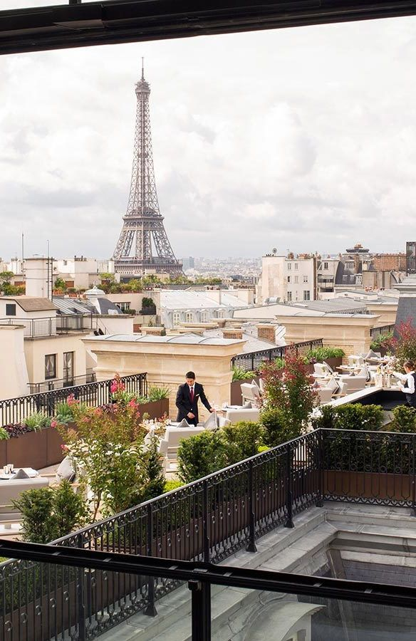 Rooftop Restaurant with Eiffel Tower View, The Peninsula Paris vossy.com |  Peninsula paris, Paris rooftops, Paris