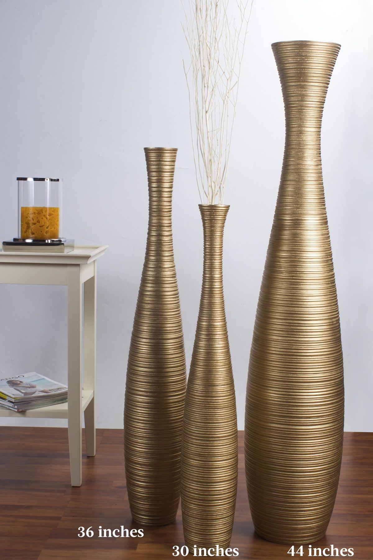 Leewadee Tall Big Floor Standing Vase For Home Decor 44 Inches Mango Wood Golden Tall Floor Vases Floor Standing Vase Tall Vase Decor