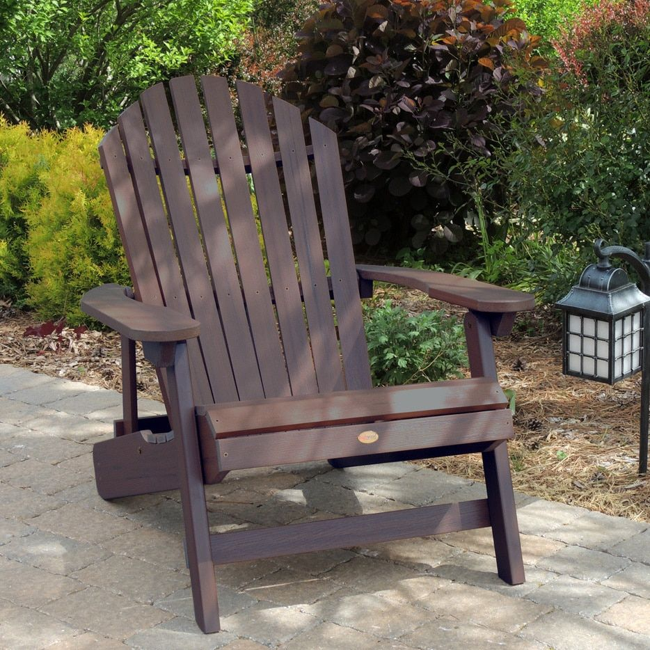 Highwood Adirondack Chair Beach Bike Rack Eco Friendly Synthetic Wood King Size Folding And Reclining Weathered Acorn Silver Stainless Steel Patio Furniture