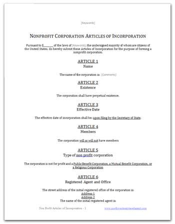 free articles of incorporation template for you to use diy
