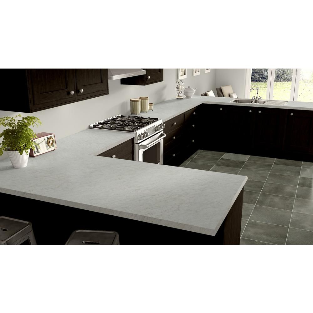 Wilsonart 5 Ft X 12 Ft Laminate Sheet In White Carrara With Standard Fine Velvet Texture Finish 49243835060144 The Home Depot Laminate Kitchen Laminate Countertops White Laminate Countertops
