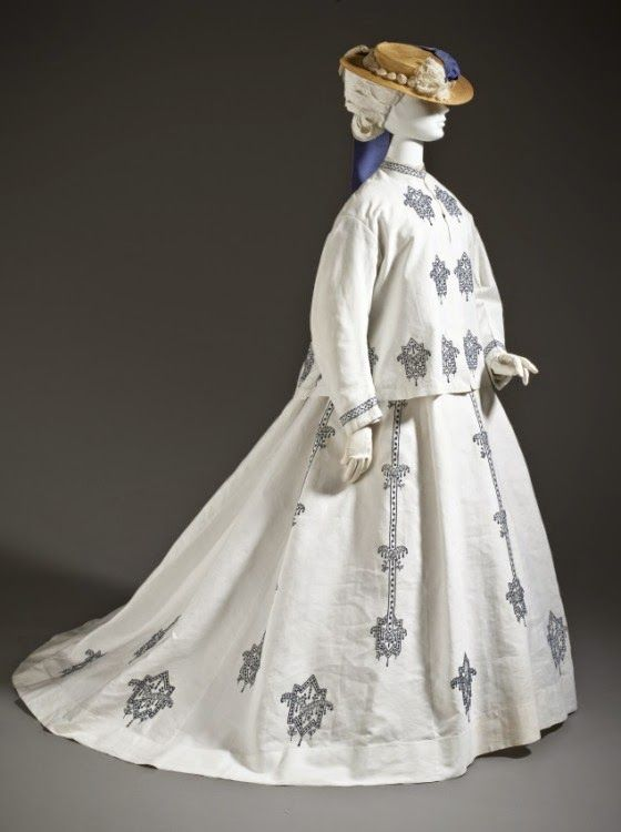 Woman's Three-piece Seaside Ensemble  France, 1864-1867  Costumes; principal attire (entire body)  Cotton plain weave with supplementary warp, and cotton machine embroidery