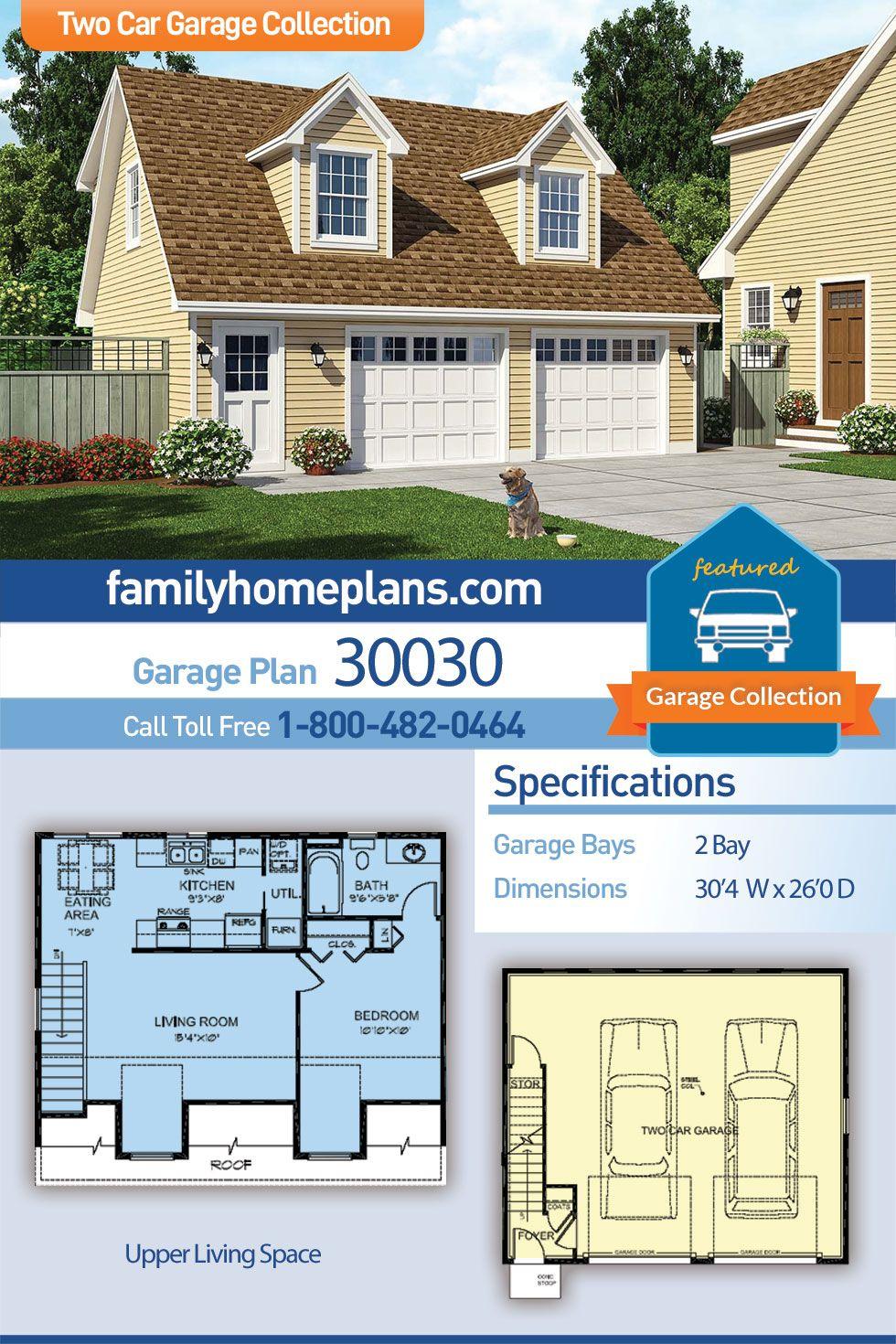 Saltbox Style 2 Car Garage Apartment Plan Number 30030 With 1 Bed 1 Bath Garage Apartment Plans Garage Apartment Plan Apartment Plans