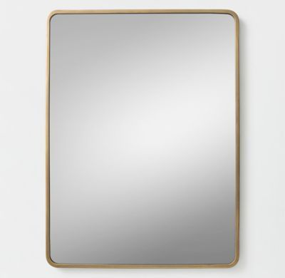 RH TEEN's Minimalist Metal-Wrapped Dresser Mirror - Brass:Our understated mirror features a thin frame and sleek silhouette to complement any room's style, while making its own statement in the process.