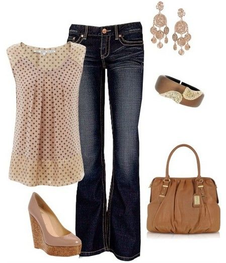 A Fresh Look for 2014, Polka-dot print top, bright and nude wedges