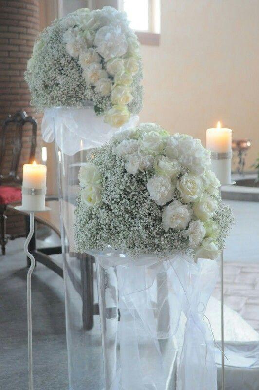 Bouquet Sposa Garofani.Decorazioni Chiesa Con Gypsophila Rose E Garofani Bianchi Con