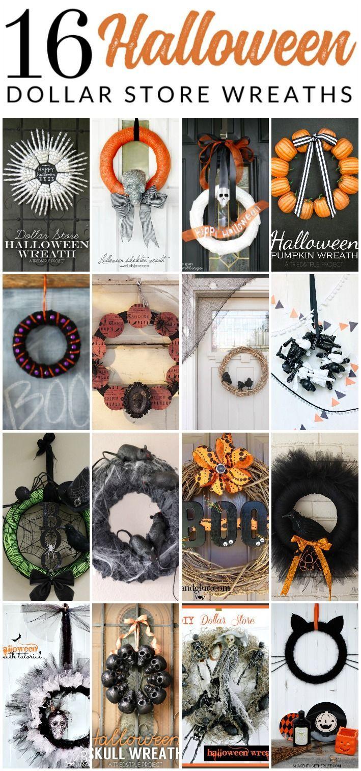 16 Diy Dollar Store Halloween Wreaths Diy Halloween Wreath