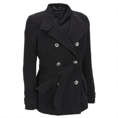 Black Rivet Faux-Wool Twill Belted Military Jacket