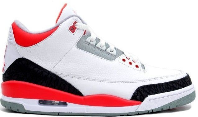 authentic Air Jordan Retro 3 White Fire Red-Neutral Grey-Black for sale  online dd0f5054f